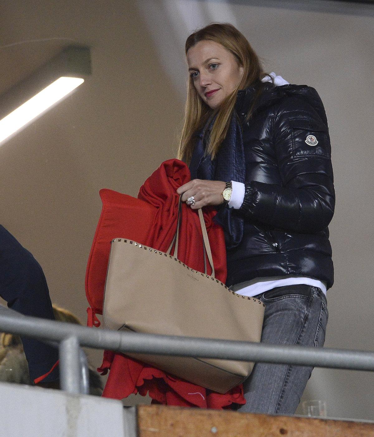 VIP fanynka v Edenu! Petra Kvitová na zápase Slavie proti Slovácku.