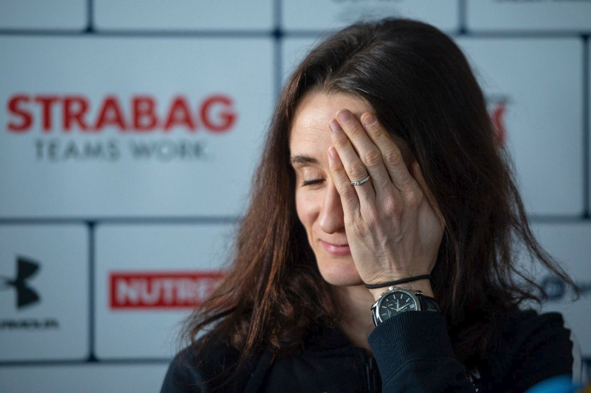 Martina Sáblíková na tiskové konferenci v Praze