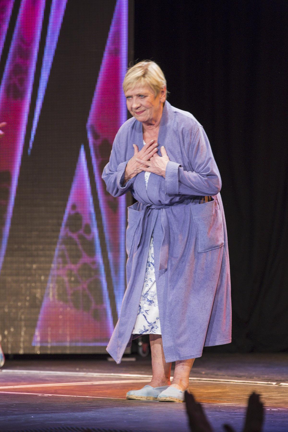 Jaroslava Obermaierová během muzikálu Kvítek mandragory hrála umírající matku.