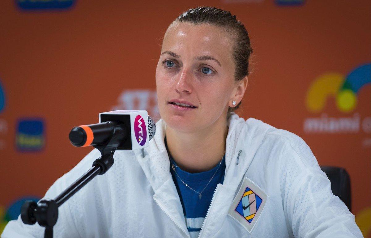 Česká tenistka Petra Kvitová na tiskové konferenci v Miami