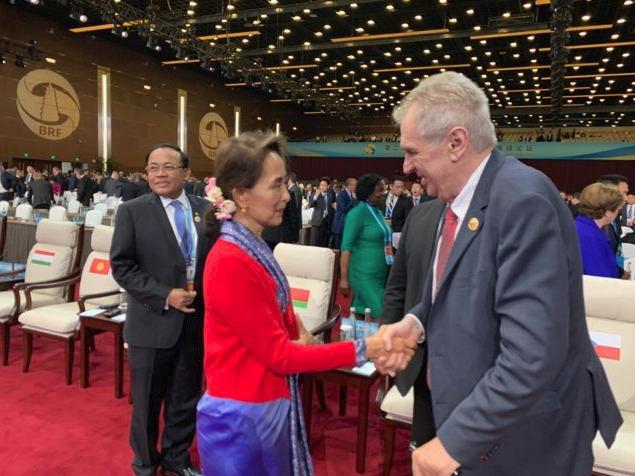 Konference k projektu Hedvábná stezka: Prezident Miloš Zeman se zde setkal s barmskou vůdkyní Aun Schan Su Ťij (25.4 2019)