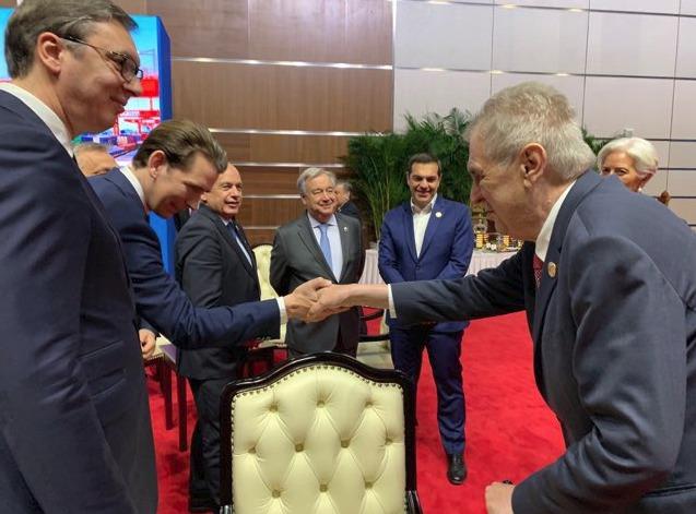 Konference k projektu Hedvábná stezka: Prezident Miloš Zeman se zde setkal s rakouským kancléřem Sebastianem Kurzem (25.4 2019)