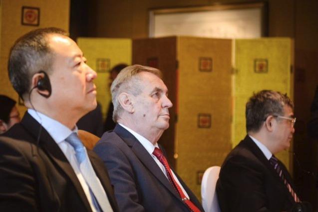 Prezident Miloš Zeman v Číně na obědě s  Financial CEOs Cooperation Roundtable (26.4 2019)