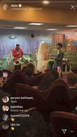 DJ Diplo streamoval svatbu Sansy přímo na Instagram