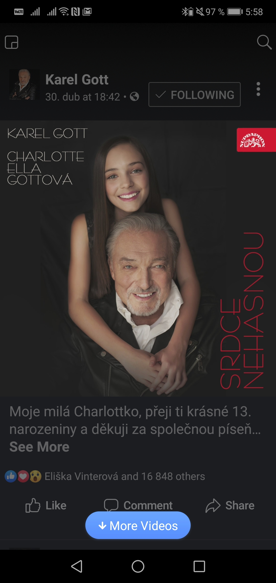 2019 Společný singl s tátou Karlem nazvaný Srdce nehasnou.