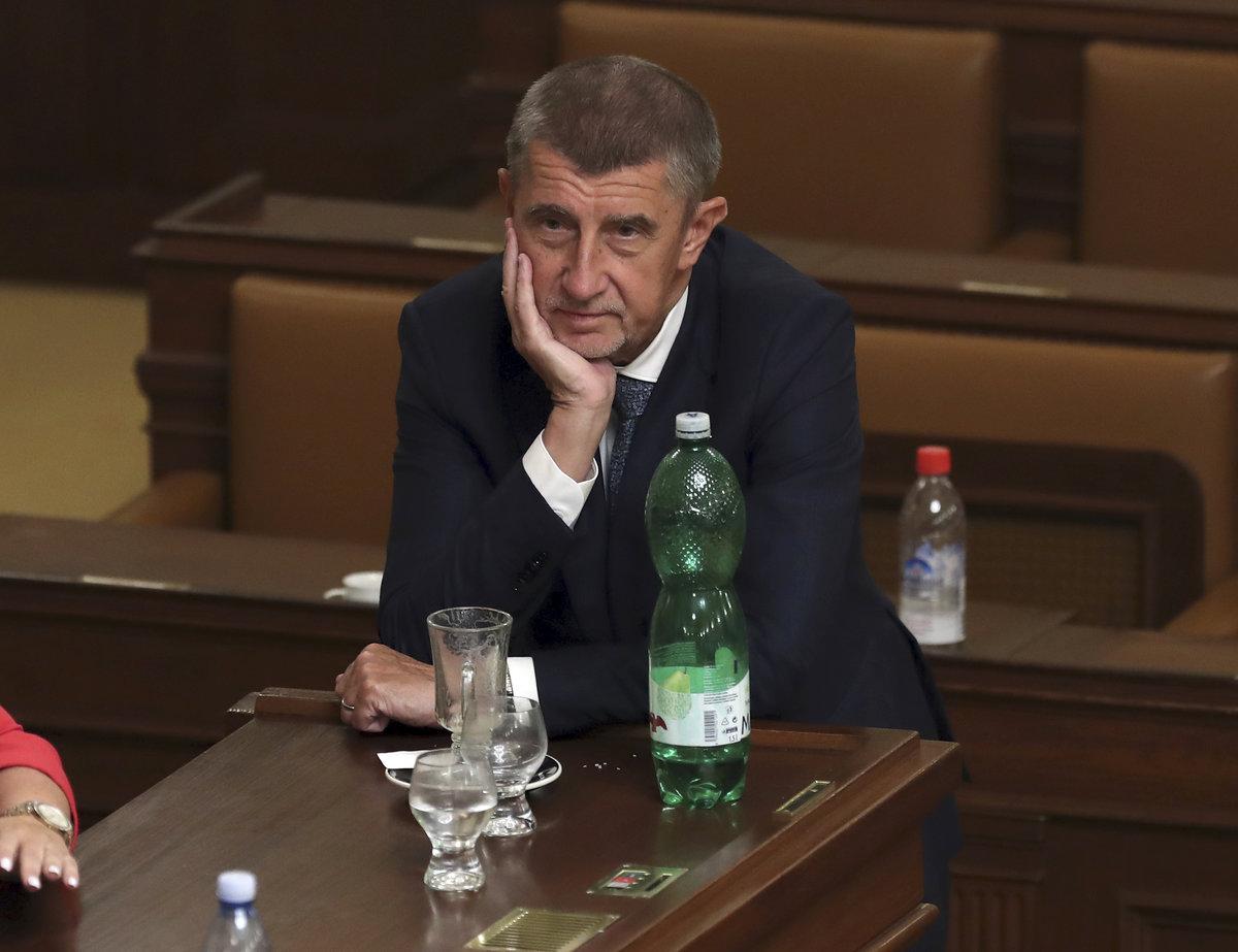 Andrej Babiš (ANO) v červnu 2019 při jednání o důvěře vládě