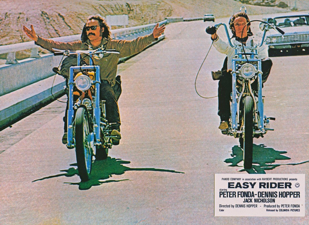 Dennis Hopper (†74) a Peter Fonda (†79) v road movie Bezstarostná jízda.