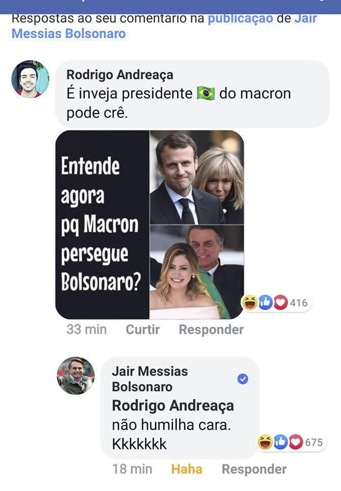Posměšný komentář brazilského prezidenta Bolsonara na adresu Macronovy manželky Brigitte