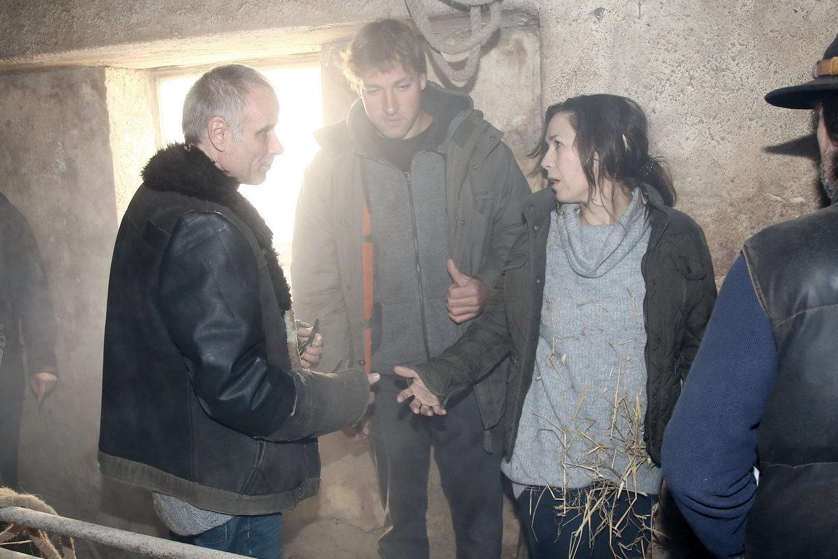 Tereza Kostková při natáčení Temného kraje