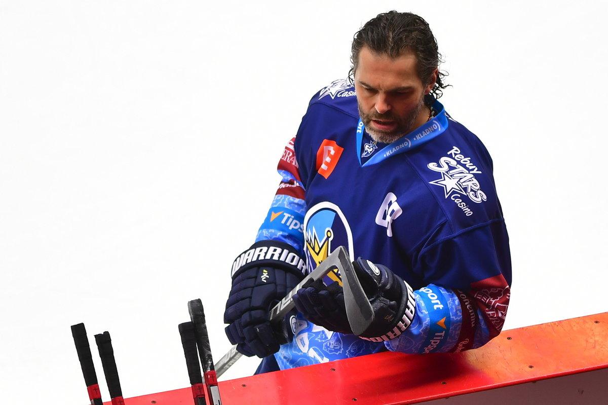Jaromír Jágr na rozbruslení před zápasem