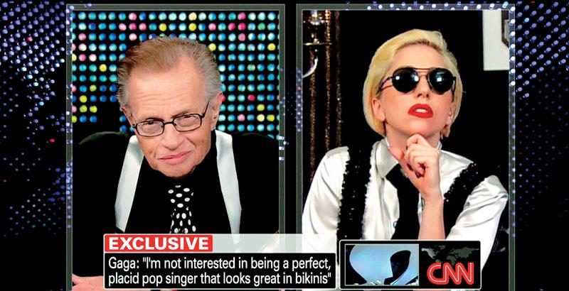 Lady Gaga – často citovaný důkaz, že King ztrácel schopnost rozumět o generace mladším hostům
