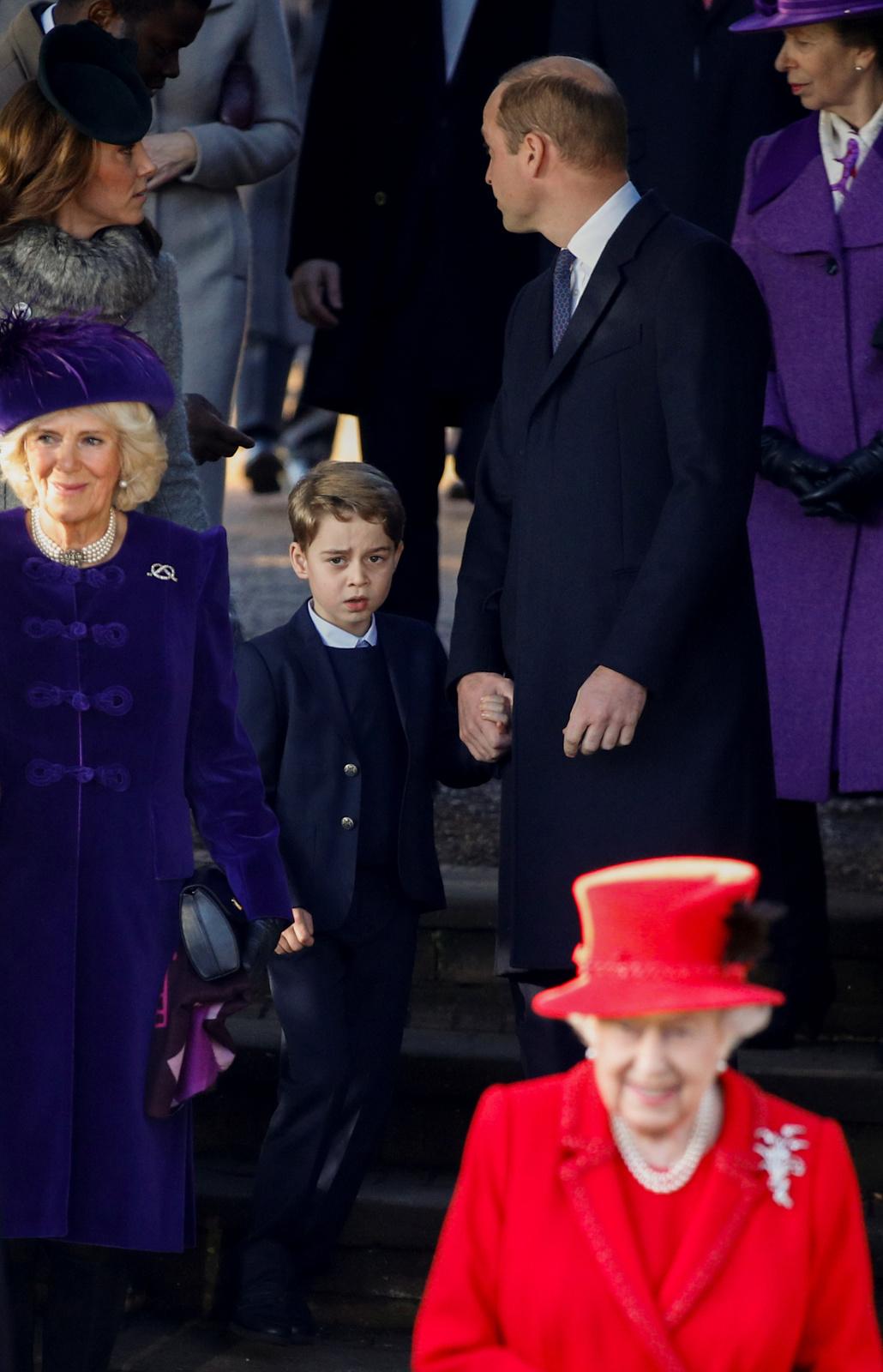 Královská rodina na vánoční mši.