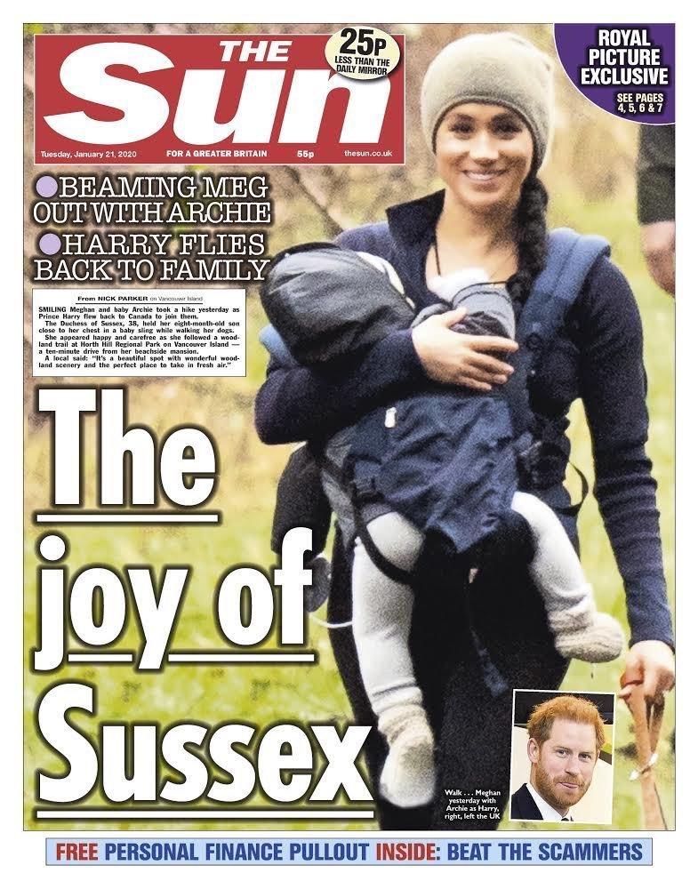 Deník Sun řešil Meghan a její nosítko