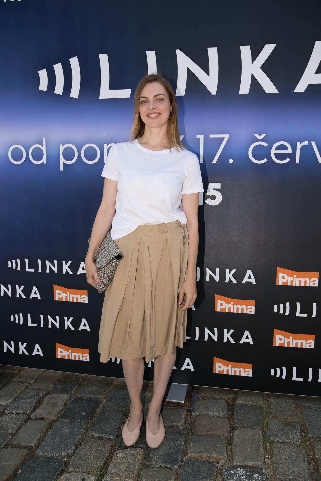 Eva Leimbergerová na tiskové konferenci seriálu Linka