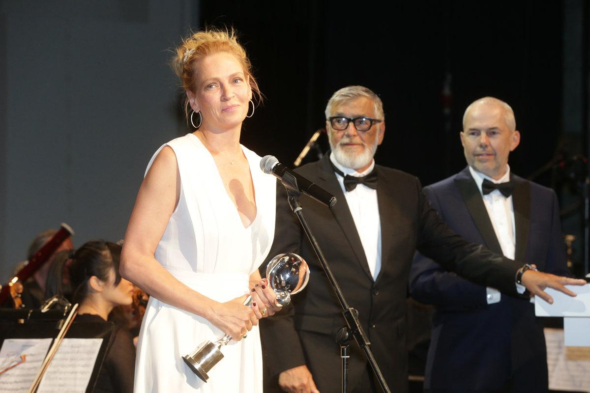 Bartoška coby prezident filmového festivalu s Markem Ebenem a hvězdným hostem Umou Thurmanovou.