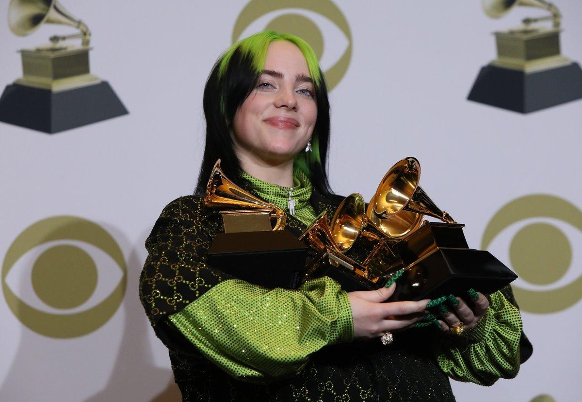Zpěvačka Billie Eilish na předávání cen Grammy 2020