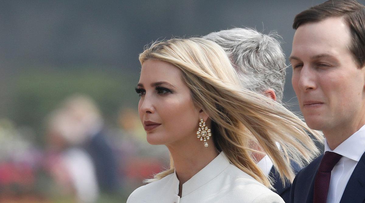 Poradkyně Bílého domu Ivanka Trumpová během státní návštěvy Indie (24.-25.2.2020). na snímku s manželem Jaredem Kushnerem.