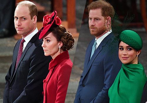 Kate s Williamem a Meghan s Harrym na poslední společné akci