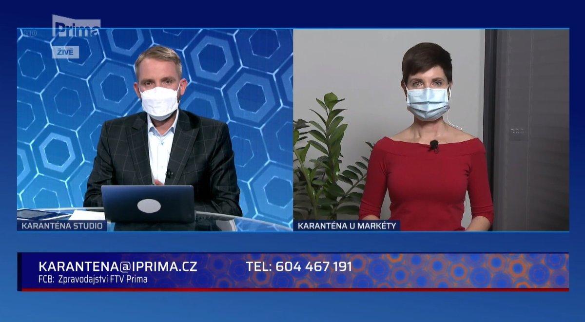 Markéta Fialová a Libor Bouček v pořadu Karanténa