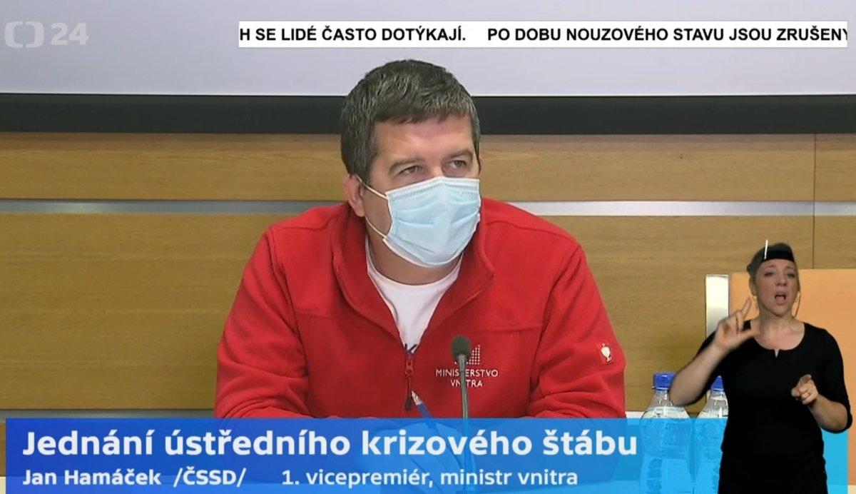 Jan Hamáček (ČSSD) po jednání vedení Ústředního krizového štábu (20.4.2020)