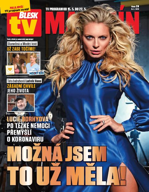 Lucie Borhyová na titulce pátečního BLESK tv MAGAZÍNU.