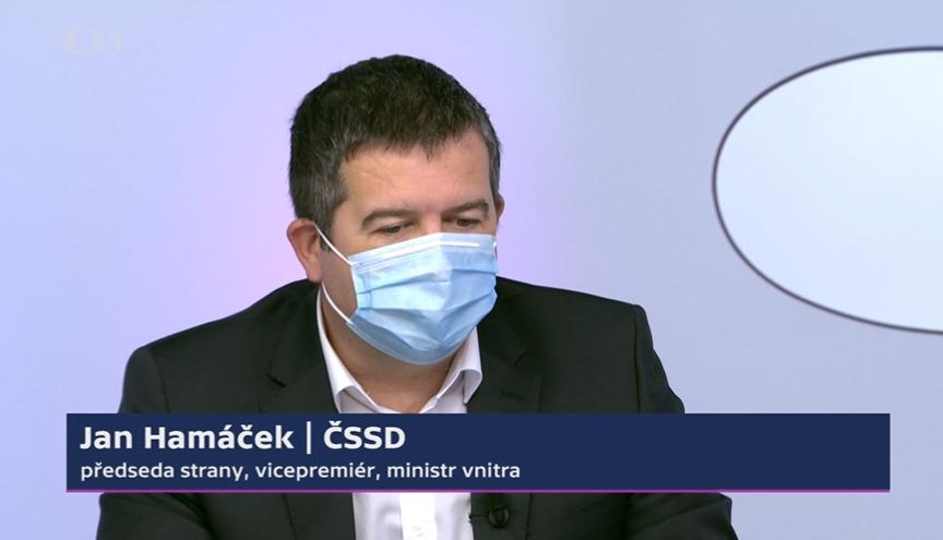 Vicepremiér, ministr vnitra a předseda ČSSD Jan Hamáček v pořadu Otázky Václava Moravce.