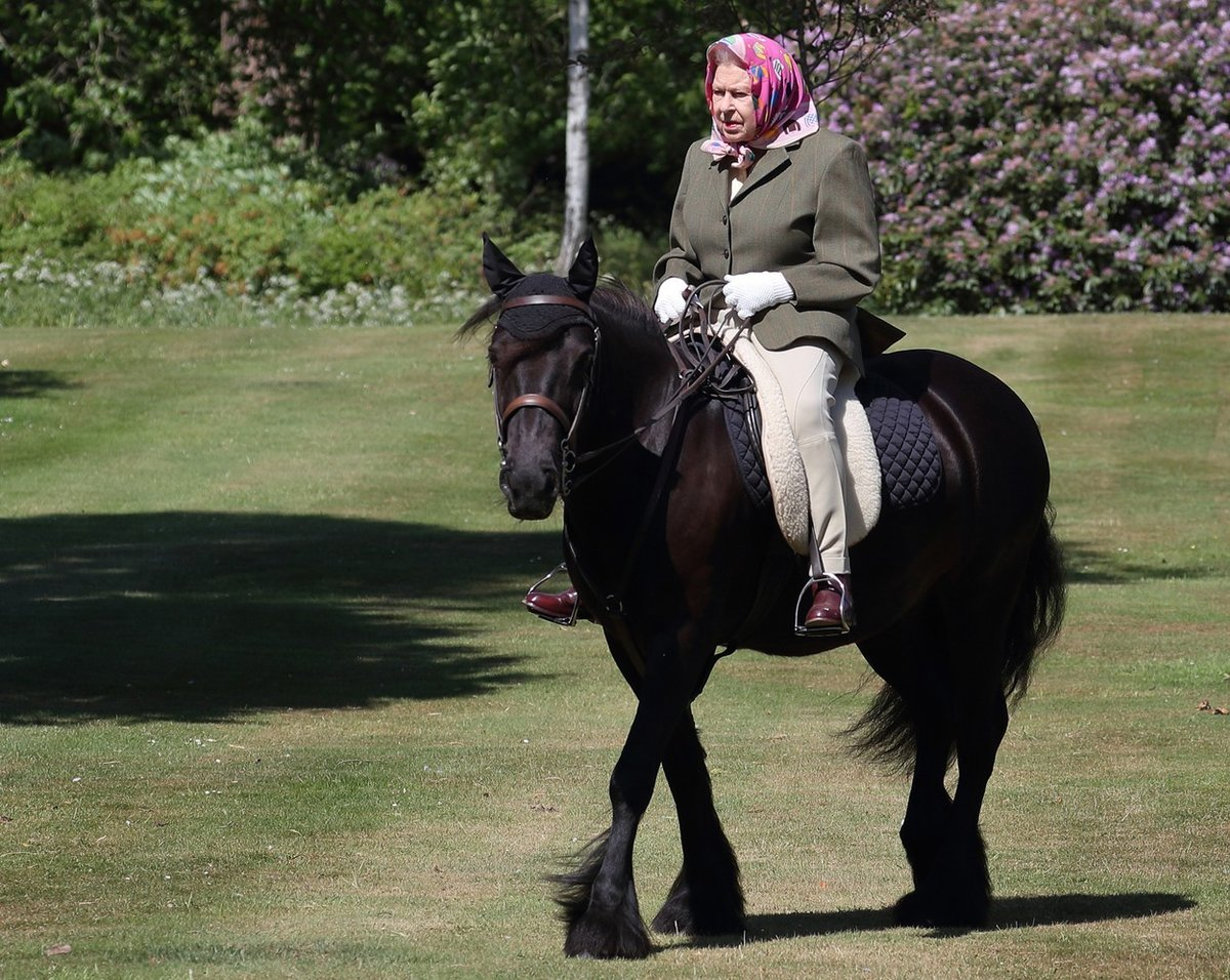 Královna Alžběta II. na poníkovi