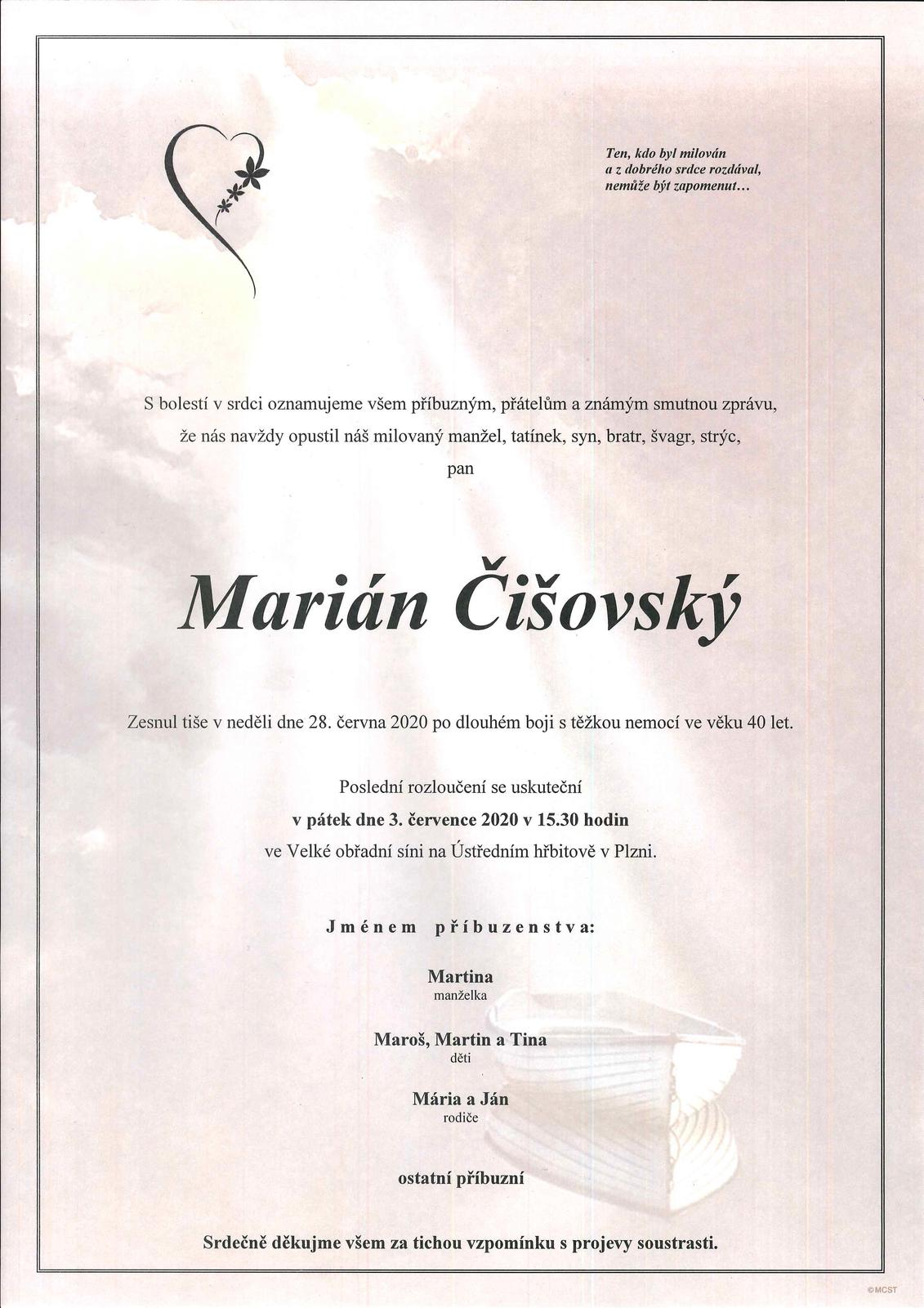 Pohřeb Mariána Čišovského proběhne ve Velké obřadní síni na Ústředním hřbitově v Plzni