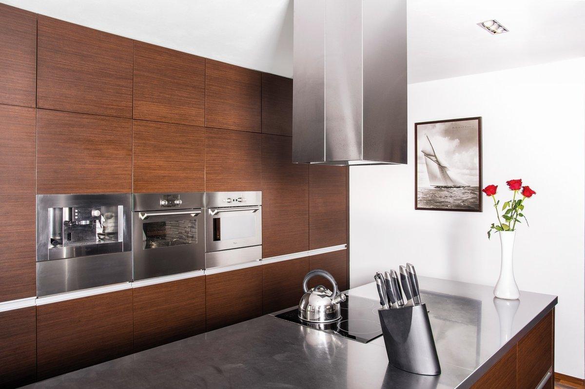 Kuchyňská linka s vestavnými spotřebiči zabírá celou jednu stěnu místnosti.