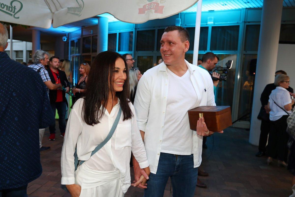 Oslava narozenin Františka Janečka: Michaela Kuklová s partnerem