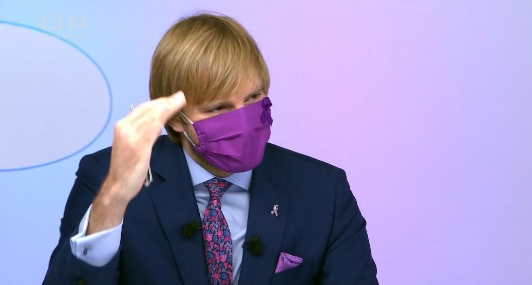 Ministr zdravotnictví Adam Vojtěch (za ANO) v Otázkách Václava Moravce. (20. 9. 2020)