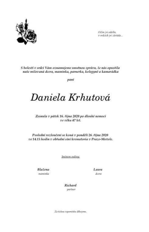 Herečka Daniela Krhutová zemřela po vážné nemoci.