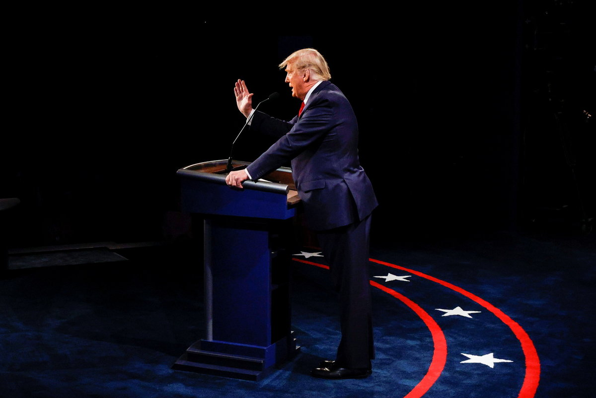 Americký prezident Donald Trump během poslední debaty před volbami (23.10.2020)