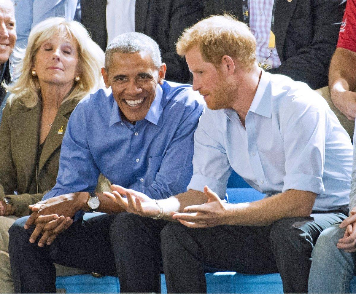 Jill Bidenová, Barack Obama a princ Harry na zápase