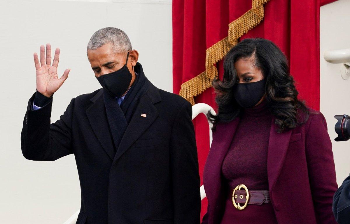 Bývalý prezident USA Barack Obama a jeho žena Michelle Obamová na inauguraci 46. prezidenta USA Joe Bidena (20. 1. 2021)