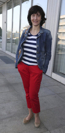 Ester Janečková (42) doplnila námořnický outfit džínovou bundičkou.