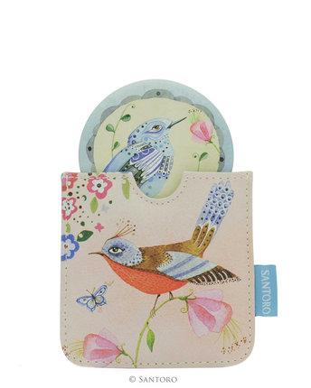 Jednoduše ho schováte – Santoro kapesní zrcátko Watercolours Birds, www.diff erent.cz, 350 Kč.
