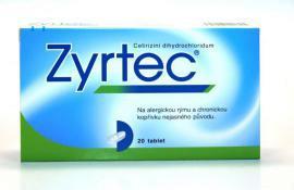 Zyrtec 20 tbl., tabletky pro úlevu od nosních, očních i kožních příznaků alergií, 157 Kč.