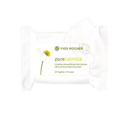 S bio heřmánkem, který pokožku zklidňuje a osvěžuje – Odličovací ubrousky Pure Calmille, Yves Rocher, 20 ks, 149 Kč.