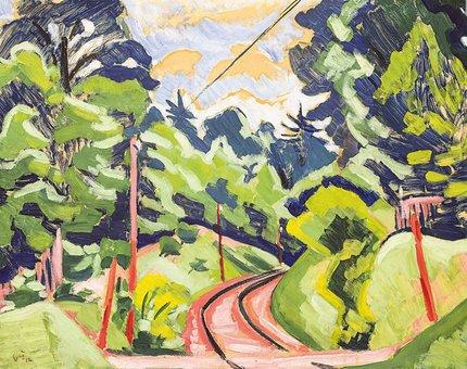 Obraz Krajina s kolejemi pochází z roku 1912.