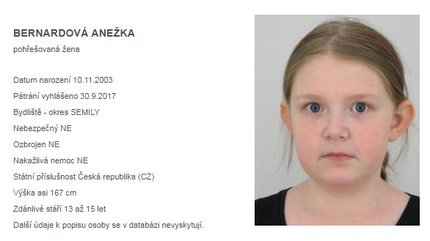 Pohřešovaná Anežka Bernardová (13)
