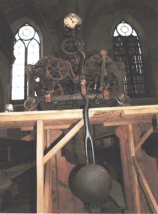 Věžní hodiny značky Ludwik Hainz in Prag.
