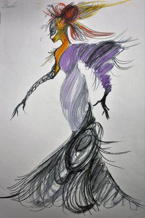 návrh kostýmu Dešťové víly