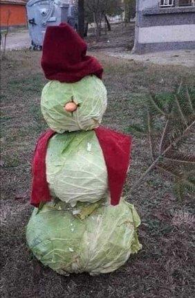 Zelák je »náhražkový« sněhulák ze zelí.