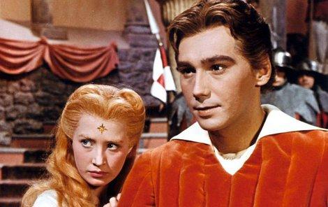 1959: Životní role Josefa Zímy – princ Radovan v pohádce Princezna se zlatou hvězdou. Na snímku s  Marií Kyselkovou (80).