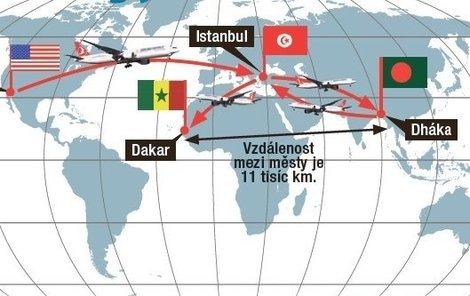 Přistát měli v Dakaru v Senegalu. Skončili v Dháce v Bangladéši.