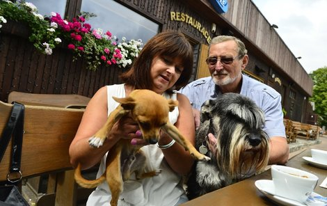 S paní Gábinou a psími mazlíčky.