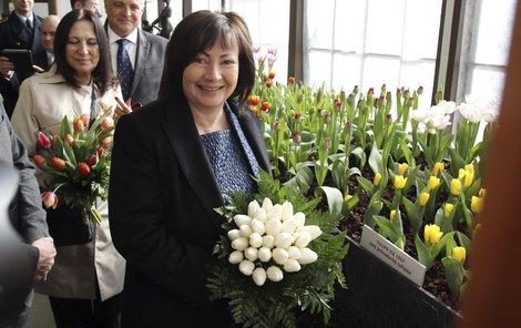 Ivana Zemanová si den s květinami užívala.