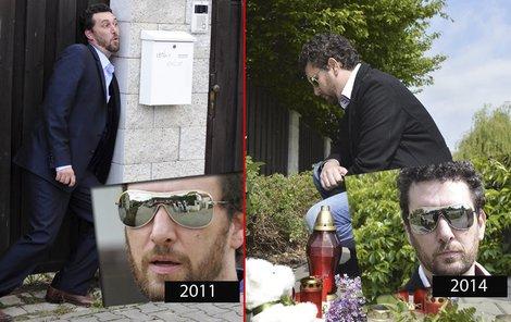 Vlevo Domenico Martucci vtipkuje před domem v roce 2011, vpravo na stejném místě o tři roky později pokládá květiny.