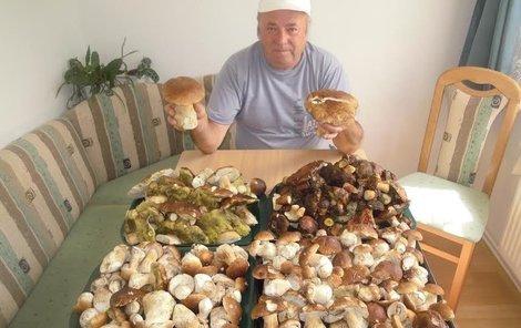 Milan Krž měl hub čtyři vrchovaté pekáče.